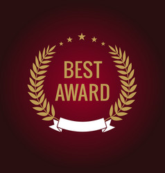 Best award gold laurel star label vector