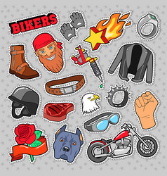 bikers elements with chopper and motorcycle vector image