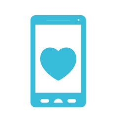 blue color silhouette of smartphone with heart in vector image