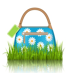 Blue woman spring bag with chamomiles flowers and vector image