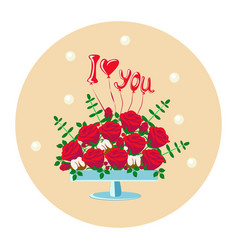 Bouquet of red roses in a vase vector