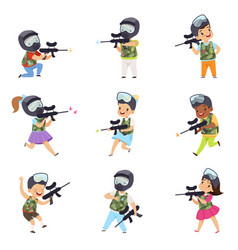 boys and girls paintball players set little kids vector image