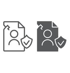 breach personall data line and glyph icon private vector image
