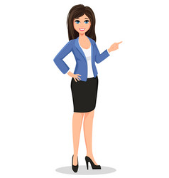 business woman in office style clothes showing vector image