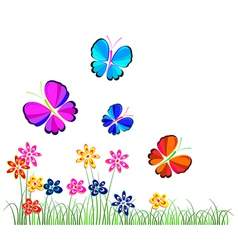 butterflies flying over flowers vector image