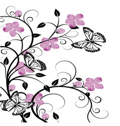 Butterflies with flourishes 2 vector