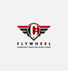 Cars logo wheel and wings with letter c vector