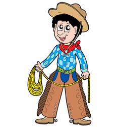 cartoon cowboy with lasso vector image