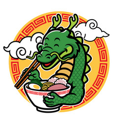 Cartoon dragon mascot eat ramen vector