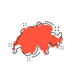 cartoon switzerland map icon in comic style vector image
