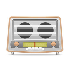 cartoon wooden retro radio vector image