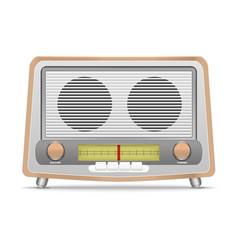 Cartoon wooden retro radio vector