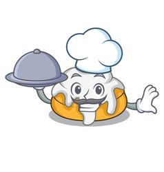 Chef with food cinnamon roll mascot cartoon vector