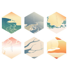 chinese template with wave elements sunset vector image