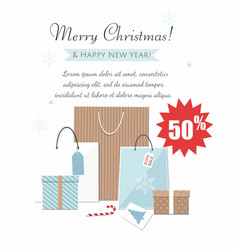 christmas gift boxes and shopping bags vector image