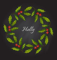 christmas holly tree wreath vector image