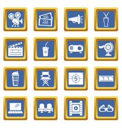 cinema icons set blue square vector image