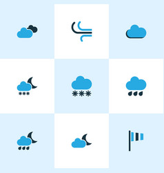 Climate colored icons set collection of blizzard vector