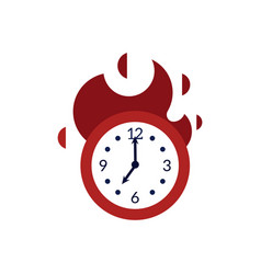Clock with red fire showing time running out vector