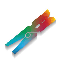 Clothes peg sign colorful icon with vector