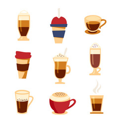 Coffee types icons set flat style beverages menu vector