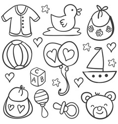 Collection stock of baby object doodles vector