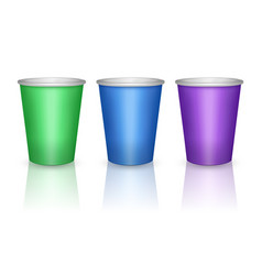 colorful green blue and purple paper cups vector image