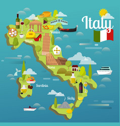 Colorful italy travel map with attraction symbols vector