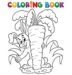 coloring book rabbit theme 1 vector image