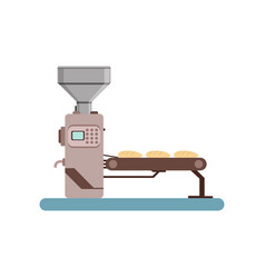 Conveyor line with bread stage of bread vector