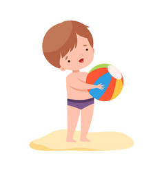 cute boy playing with ball kids summer activities vector image