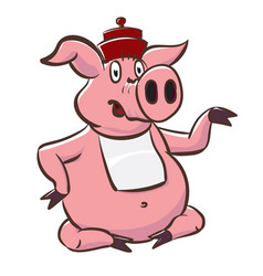 cute pig in hat and bib shows a little teapot vector image