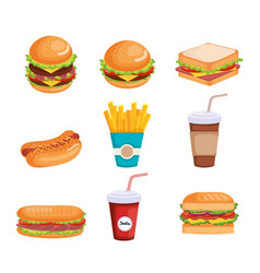 Delicious fast food icons vector