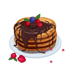 Delicious pancakes topped with chocolate sauce and vector