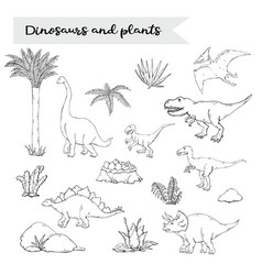 dinosaurus set with plant isolated on a white vector image