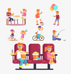 Entertaining children in cinema riding bike etc vector