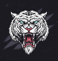 Ferocious angry cruel tiger head vector