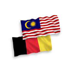 Flags belgium and malaysia on a white vector