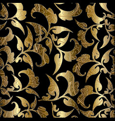 Floral black gold seamless pattern foliage vector