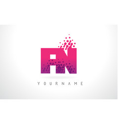 fn f n letter logo with pink purple color and vector image