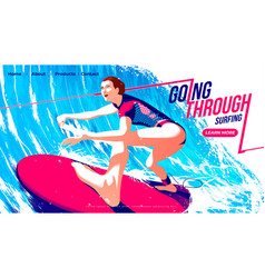 for ui or a landing page surfing sport vector image