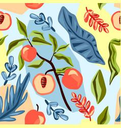 fruit seamless pattern summer background vector image