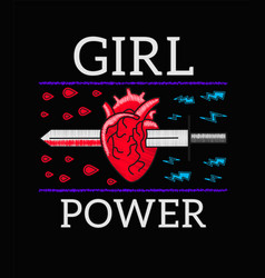 Girl power - feminism slogan rock print vector