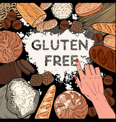 Gluten free background with flour breads vector