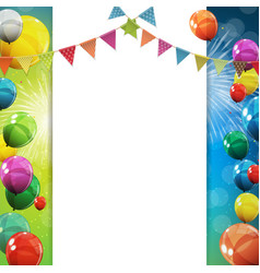 Group of colour glossy helium balloons background vector