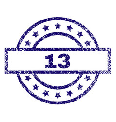 grunge textured 13 stamp seal vector image
