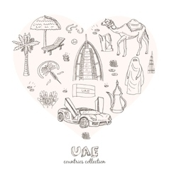 Hand drawn doodle UAE travel set vector image