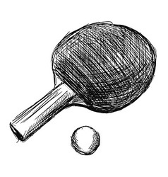 Hand sketch table tennis racket and ball vector