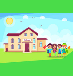happy children holding hands in front of school vector image