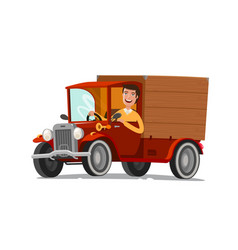 Happy driver rides on retro truck delivery vector